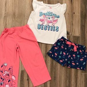 Carter's 3 Piece Pajama Set 3T Flamingos